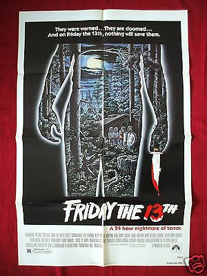 FRIDAY THE 13TH *1980 ORIGINAL MOVIE POSTER *AUTHENTIC* JASON VOORHEES HALLOWEEN
