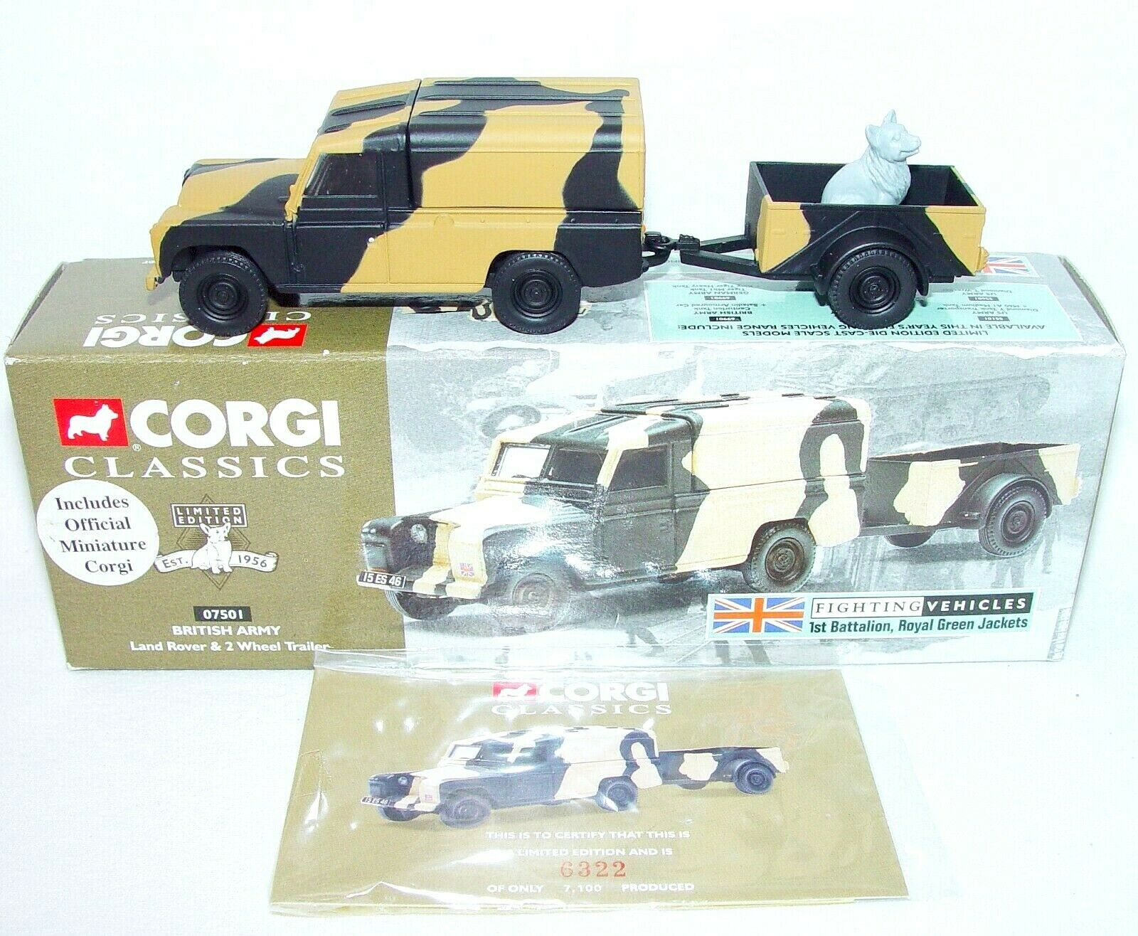 Corgi Classics 1 43 British Army LAND ROVER & TRAILER 1st Battalion Set MIB`98