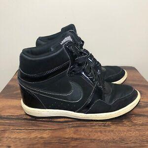 veneno Máquina de recepción Marcado  Nike Sky Force High 629746-001 Size 6.5 Black Hidden Wedge Sneakers   eBay