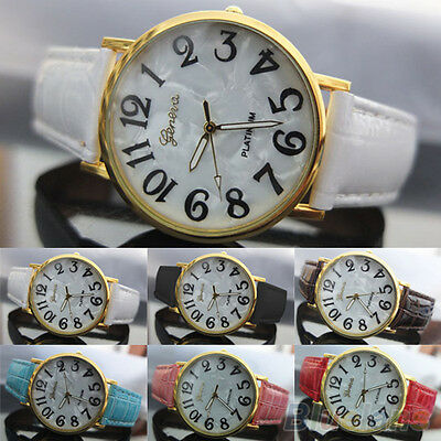 Mens Womens New Classic Geneva Shell Face Style Faux Leather Quartz Wrist Watch