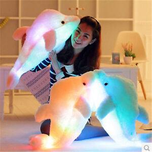 LED-Light-Dolphin-Stuffed-Animals-Plush-Toy-Pillow-Kids-Xmas-GIFT