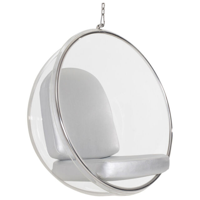 Incroyable Eero Aarnio Hanging Bubble Chair With Silver PU Leather Cushion #3022