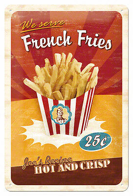 A4 Retro Tin Metal Embossed Sign /'FRENCH FRIES/' Americana 20 x 30cm Vintage look