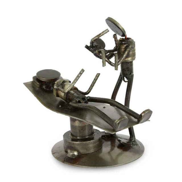 Recycled Metal Sculpture Auto Parts Art Handmade 'Baby is Born' NOVICA Mexico