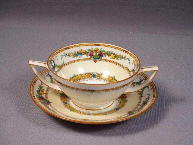 Minton HELENA Cream Soup Bouillon Cup Bowl Saucer Raised Enamel Urns England