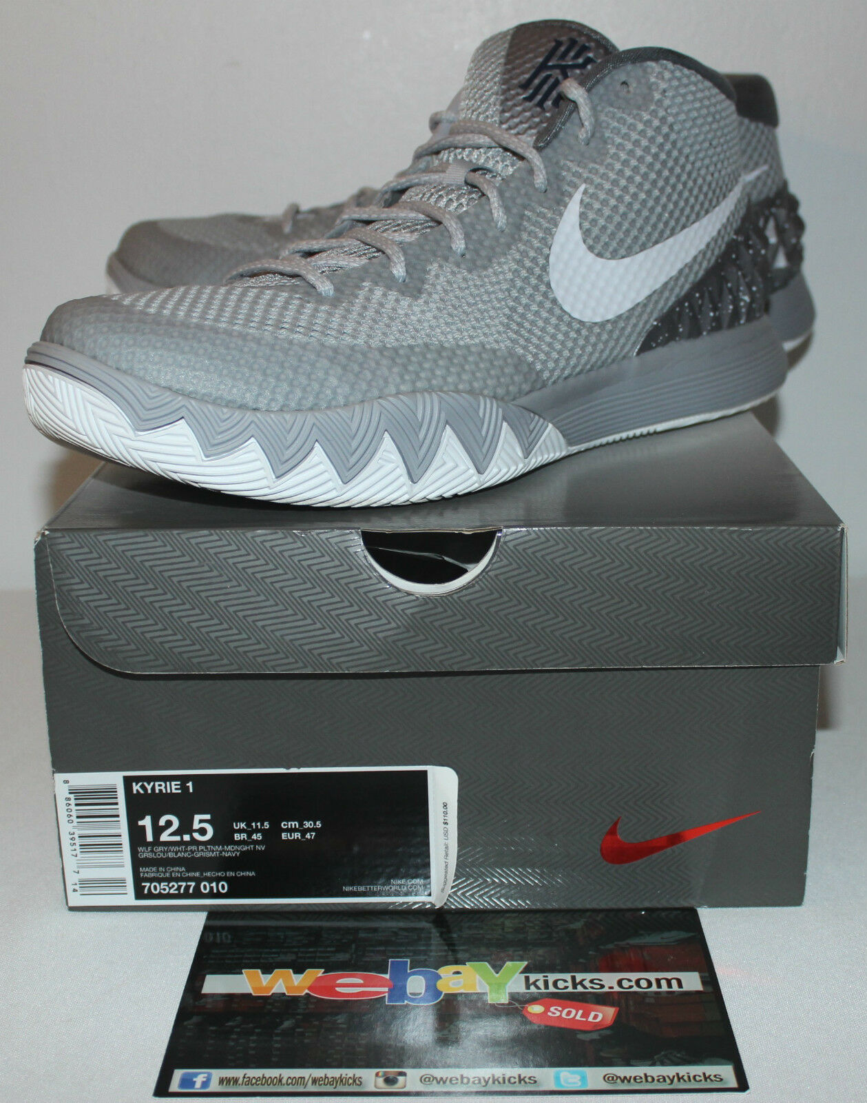 2b66c97c7f4 ... get nike air air nike kyrie 1 i wolf grey gray silver white sneakers  mens size