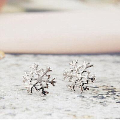 Women Girl Snowflake Ear Studs Earrings Christmas Silver Jewelry Romantic Gift
