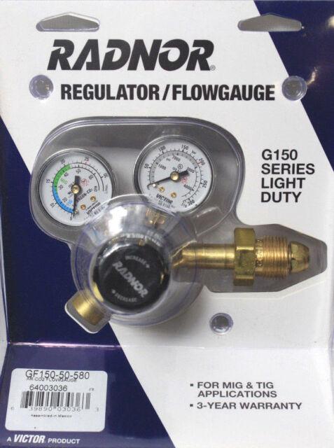 Flow Gauge Reg.,Ar. Co2 Mix,CGA-580 RADNOR RAD64003036