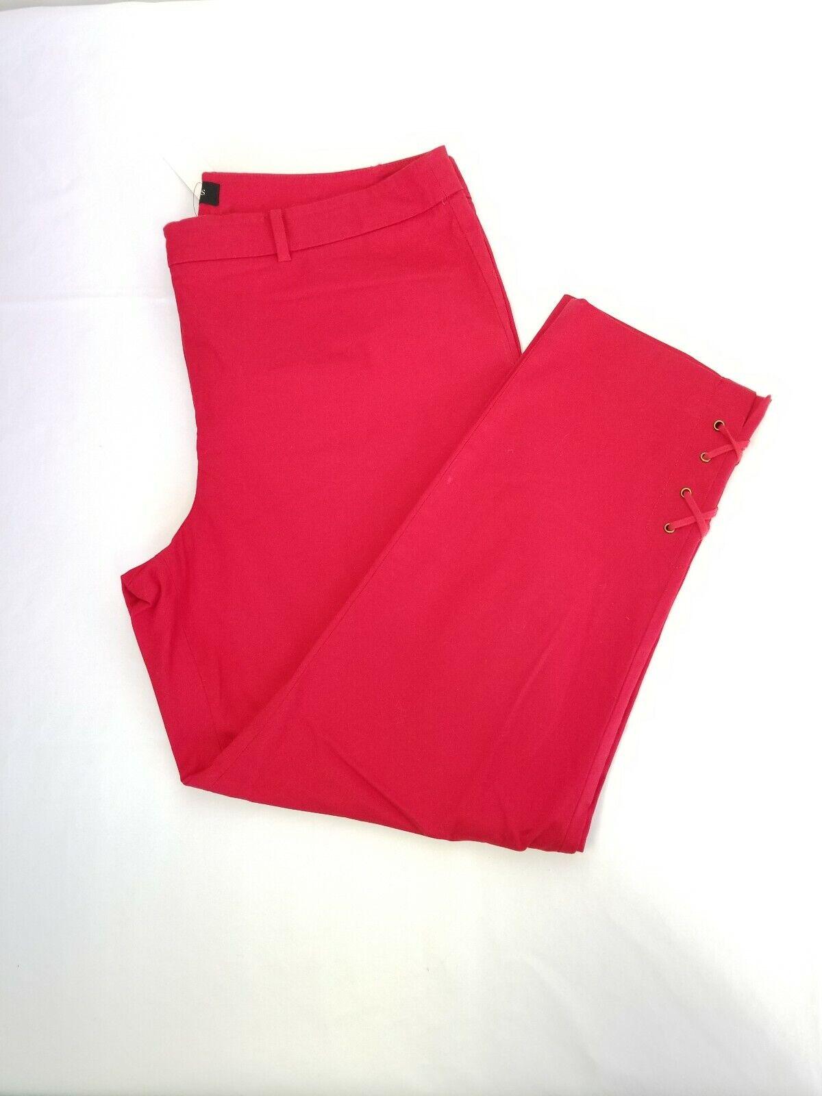 Talbots Womens 12 Red Flat Front Capri NWT