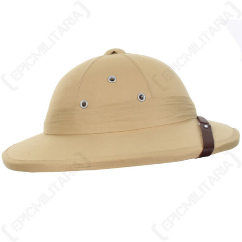 French Tropical Pith Helmet Khaki Colonial Explorer Adventurer Safari Sun Hat