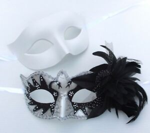 HIS-N-HERS-PAIR-COUPLES-WHITE-SILVER-BLACK-VENETIAN-MASQUERADE-PARTY-EYE-MASKS