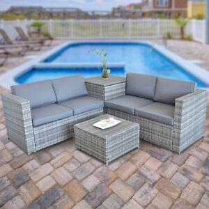 Lounge Rattan Lounge Tisch Und Kissenbox In Grau Garten Sofa