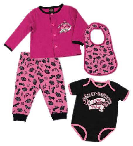 Rose /& Noir 2500726 Harley-Davidson Baby Girls /'pailleté 4 PC Hanging Ensemble Cadeau