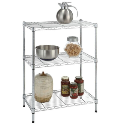 4//5 Tier Storage Rack Organizer Kitchen Shelving Steel Wire Shelves Black//Chrome