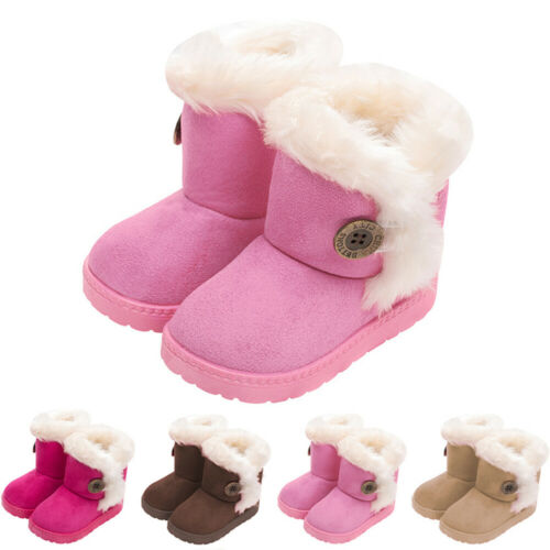 Kids Boys Girls Snow Ankle Boots Toddler Winter Warm Fur Lined Flat Shoes Size