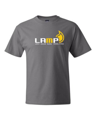 LAMP Linux Apache MySQL Perl Python Logo geek tee computer admin T-shirts