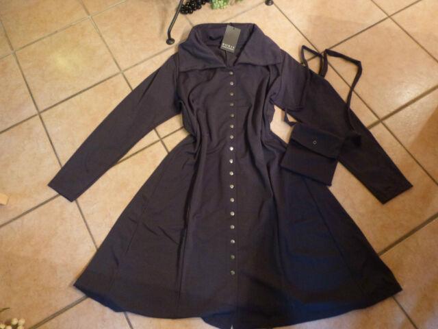 BORIS INDUSTRIES Mantel Kleid 48 50 NEU grau Druckknöpfe mit Tasche LAGENLOOK