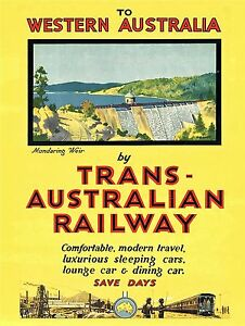 ART DECO Australian  RAILWAYS TRAIN ANTIQUE POSTER A1 SIZE PRINT FOR YOUR FRAME