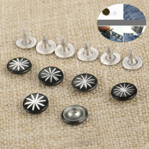 100Pcs 2Colors 9mm Rivets Fasteners Studs Button+100 Nails For Jeans Fasterners