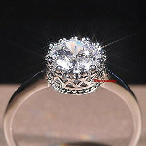 18k White Gold Plated Made With Swarovski Crystal Wedding Crown Ring