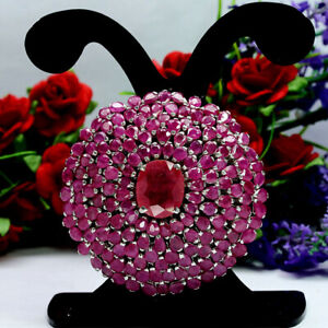 NATURAL-12X14mm-RED-RUBY-amp-NATURAL-HEATED-PINK-RUBY-BROOCH-PENDANT-925-SILVER