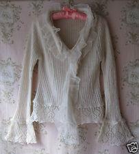 Rare! BOUTIQUE Cream Chiffon Lace Crochet Rib Knit V-Neck Flare Sleeve Jumper