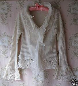 RARE-Boutique-Vintage-Chiffon-Pizzo-Crochet-a-Coste-Lavorato-a-Maglia-Flare-Manica-Collo-a-V
