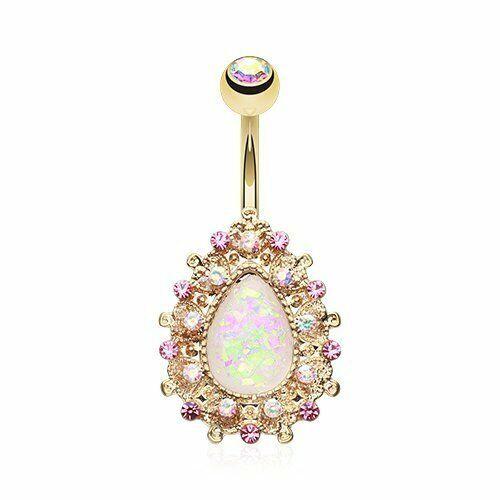 Golden Eïréné Opal Belly Button anneau plaqué or 316 L acier chirurgical