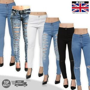Womens High Waist Ripped Denim Jeans Stretch Skinny Pants Jegging Size 8-16 New