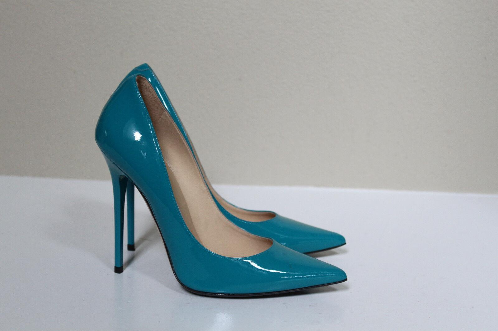 Sz 7.5   37.5 Jimmy Choo Anouk Blau Aqua Patent Leather Point Toe Heel Pump schuhe
