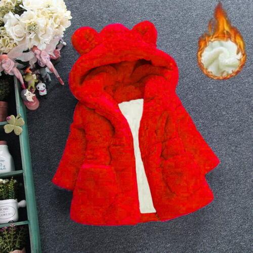 Girls Faux Fur Hoodies Coats Kids Bunny Ear Snowsuits Princess Party Outwears