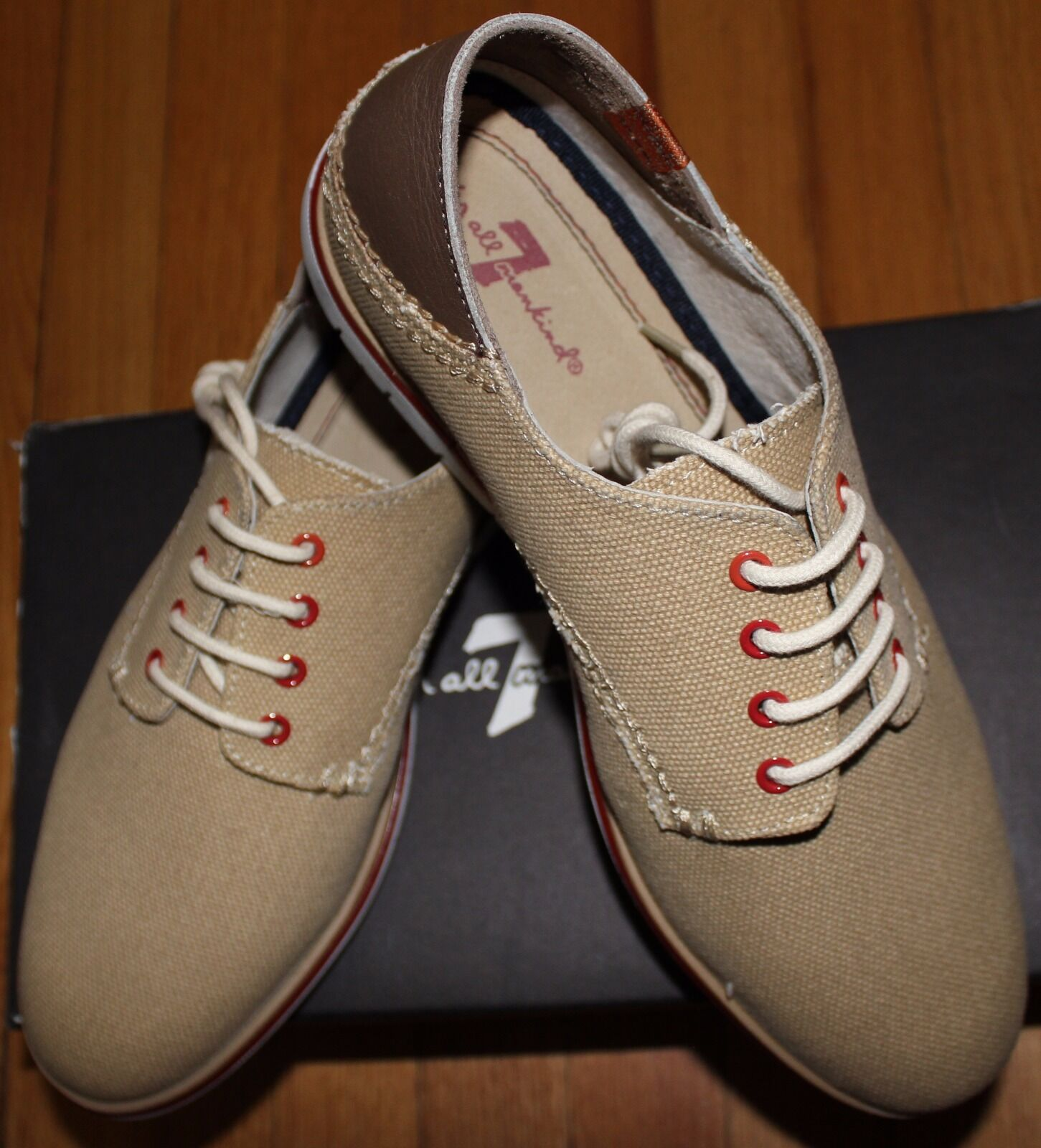120 7 FOR ALL MANKIND BEIGE LACE UP SNEAKER SZ 43.5EU 9.5UK  10.5 US