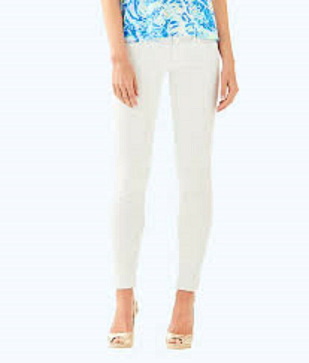 158 Lilly Pulitzer Worth Skinny Resort Blanc Jeans Taille 0