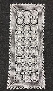 White-14x34-034-Cotton-Vintage-Handmade-Crochet-Lace-Table-Runner-Placemat-Cover