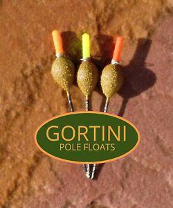 3 no. Handmade GORTINI 4x14 ' Dibber ' hand made fishing pole float set