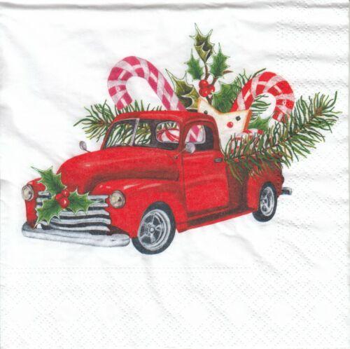 LL26 4 Lunch Papier Servietten Napkins Auto Winter Weihnachten Süssigkeiten