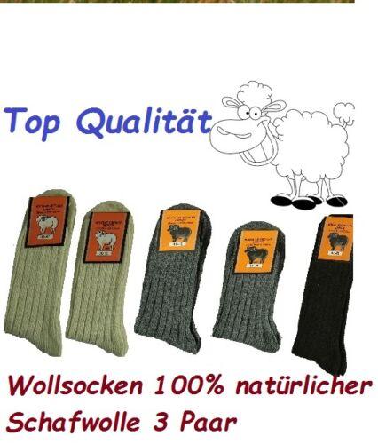 Schafwollsocken 3 Paar Wollsocken 100/% Wolle  Damen /& Heren Größe 35-46