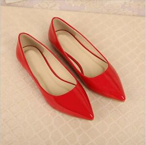 New-Fashion-Womens-Patent-Leather-Flat-Heels-Pointy-Toe-Shoes-Slip-On-Loafers-SZ