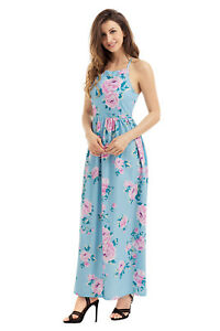 8744a035efba7 Details about New Blue Floral Bohemian Style Maxi Dress Summer Party Casual  Wear Size 8-10