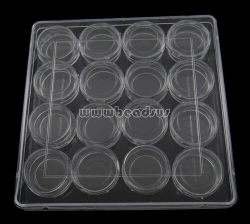 16Pcs Round Compartment Box Case Jewelry Beads Storage Container Organizer White