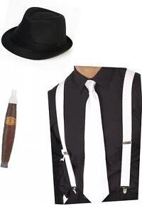 1920s Gangster Hat Brace Suspender Tie & Cigar Copane Costume Party Fancy Dress