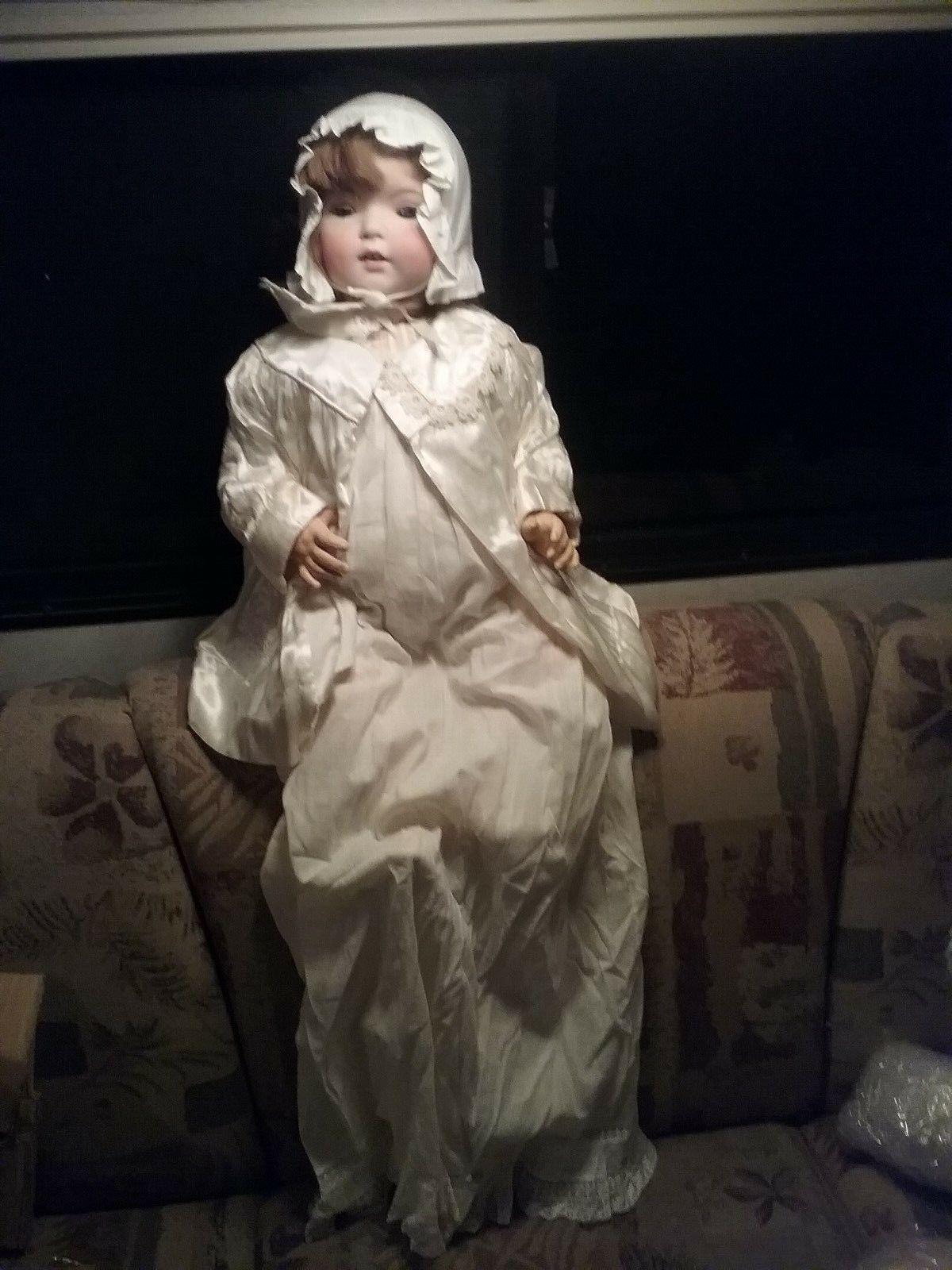 24  Fulper cabeza de Biscuit muñeca Antigua Excelente Estado Original Sleepy Ojos Azules