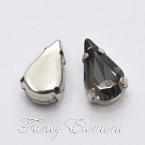 Lágrima de vidrio de 8x13mm Cristal De Diamante Negro Piedras Gemas De Costura Coser en diamantes de imitación