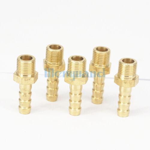 "LOT 5 Hose Barb I//D 6mm x 1//8/"" BSP Male Brass Coupler Splicer Pipe Fitting"