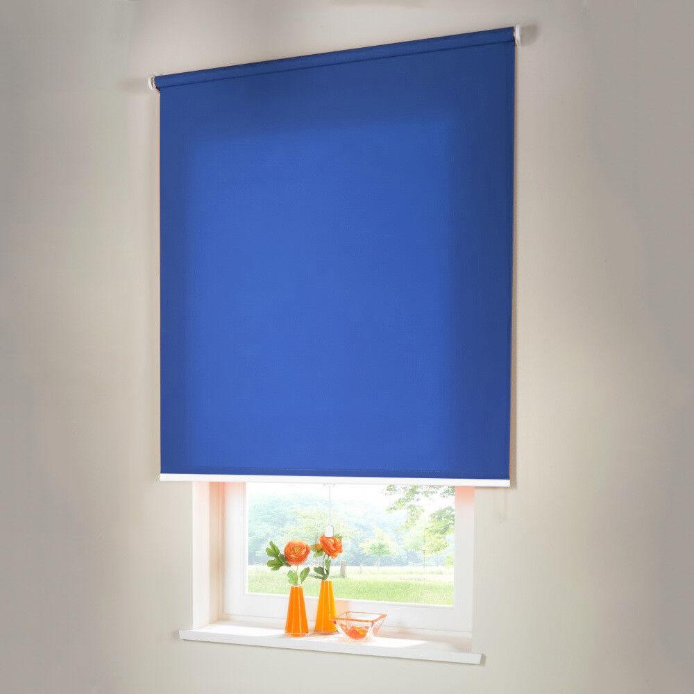 Sichtschutzrollo Mittelzugrollo Springrollo Rollo - Höhe 230 cm mittelblau | Clever und praktisch  | Angemessene Lieferung und pünktliche Lieferung  | Schön In Der Farbe