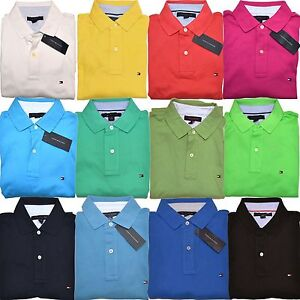 Tommy-Hilfiger-Mens-Polo-Shirt-Solid-Classic-Fit-Interlock-Tee-Logo-Nwt-S-M-L-Xl