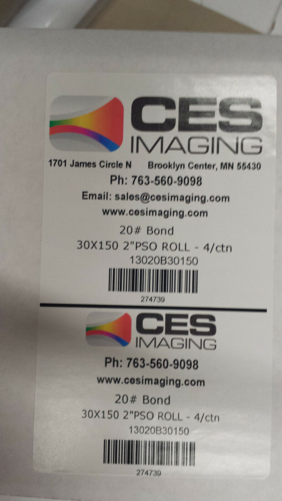 4 Rolls 30 x150' 20lb Bond HP DesignJet Plotter Paper