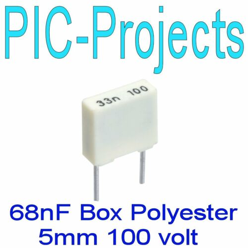 """68nF 0.068uF 100V boxed polyester capacitor 5mm 0.2/"""" pitch 68 nf Nano Farad 6"""