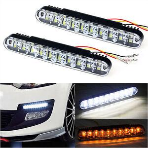 2-x-LED-auto-Feux-De-Jour-avec-clignotants