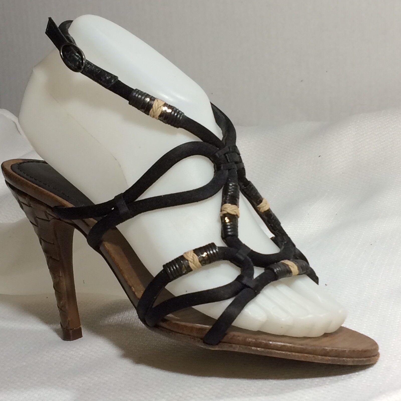 marchio famoso BOTTEGA BOTTEGA BOTTEGA VENETA Sandal nero Satin Leather Strappy Rope scarpe donna 5 M EUR 35.5  all'ingrosso a buon mercato